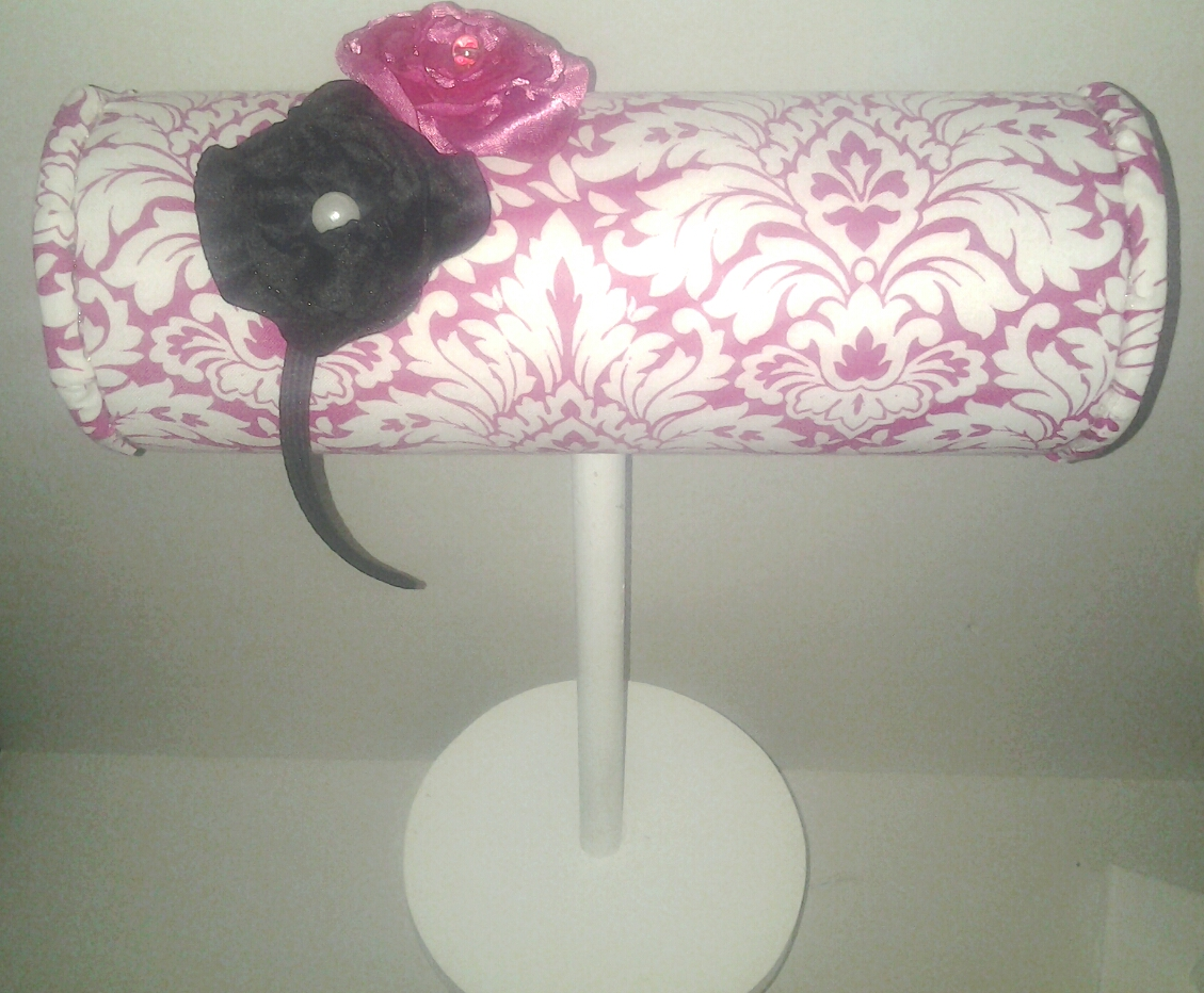 Display Stand Designs : Boutique headband display pink damask with wood stand